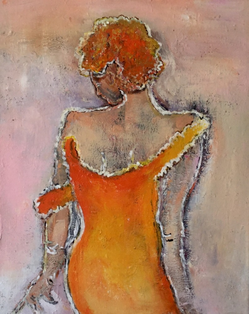 "Maleri ""Lady in orange"""