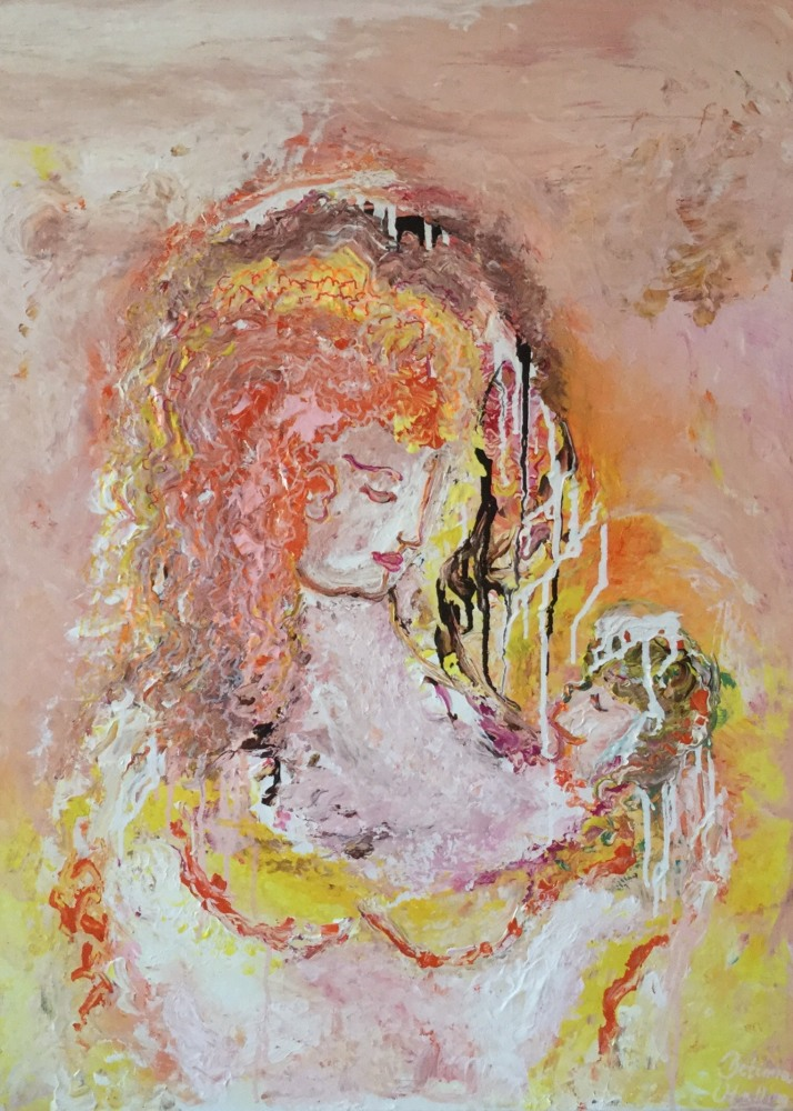 "Maleri "" Orange Madonna""  str. 60x80 cm"